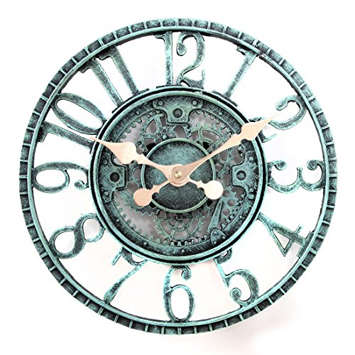 Lilyshome Indoor or Outdoor Wall Clock Steampunk Gear Cog Design, 12-Inch Poly-resin, Pewter (Large Outdoor Clocks For Walls)