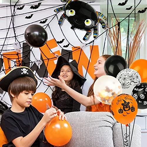 LOVESTOWN 126 PCS Halloween Balloon Garland Arch Kit, Orange and Black Balloon Garland Kit with Spider Balloons Eyes Balloons Halloween Balloon Party Decorations for House Garden