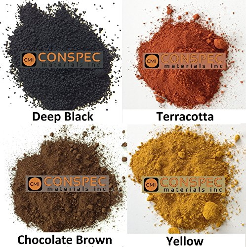 Colored Cement - Conspec 8-oz. MIXED COLORS Powdered Color for Concrete, Cement, Mortar, Grout, Plaster BROWN, DEEP BLACK, YELLOW, TERRACOTTA, Colorant, Pigment