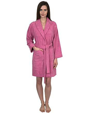 a9fb43973a TowelSelections Womens Short Turkish Cotton Robe Terry Bathrobe Large  Cashmere Rose at Amazon Women s Clothing store