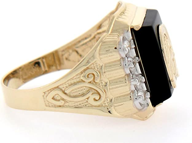 10k or 14k Solid Gold 12 X 10mm Rectangular Onyx CZ Mens Ring