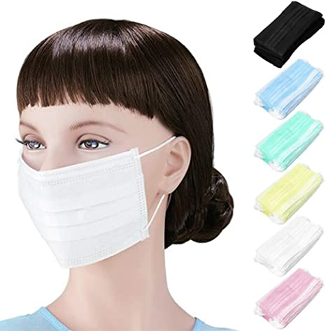 Pink Disposable Black Mask Face Medical 50pcs Non Woven pack