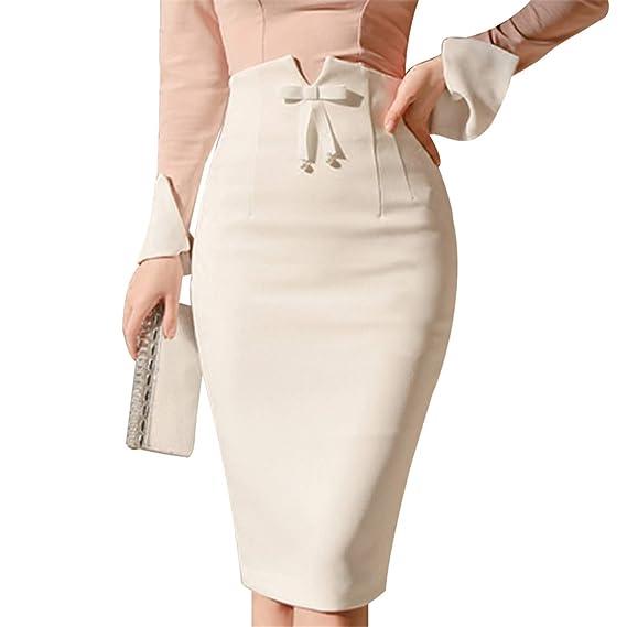 Mujer Faldas Falda Midi de Cintura Alta para Mujer Oficina de ...
