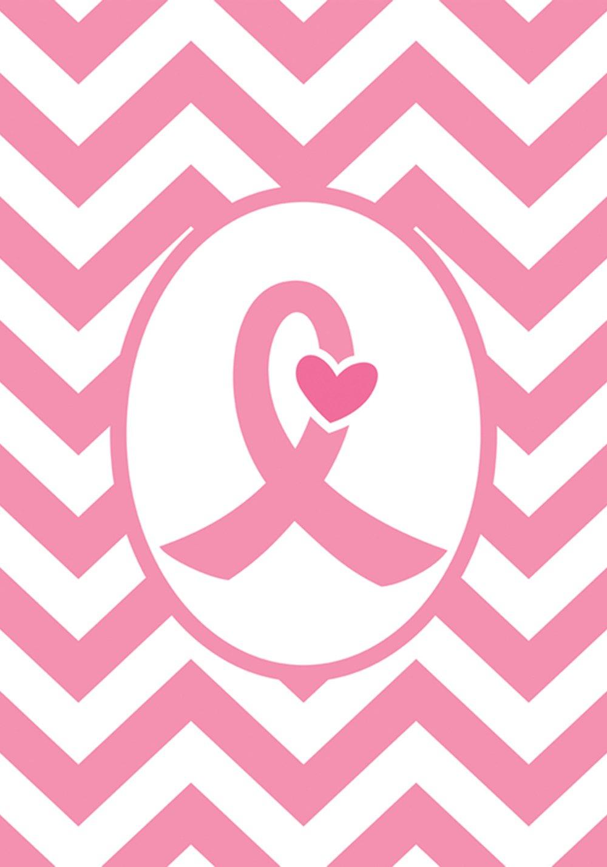 Toland Home Garden Pink Ribbon 12.5 x 18 Inch Decorative Breast Cancer Support Chevron Heart Garden Flag