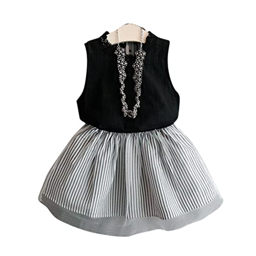 e8d6eae6b Vicbovo Little Girl Summer Clothes, Cute Sleeveless Shirt Tops+Striped  Skirt Dresses For Kids Toddler Baby Girl