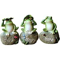 VIMOA Frog Garden Statues 3 Pack Little Frog Statues for Garden Bed, Patio or Small Front Yard
