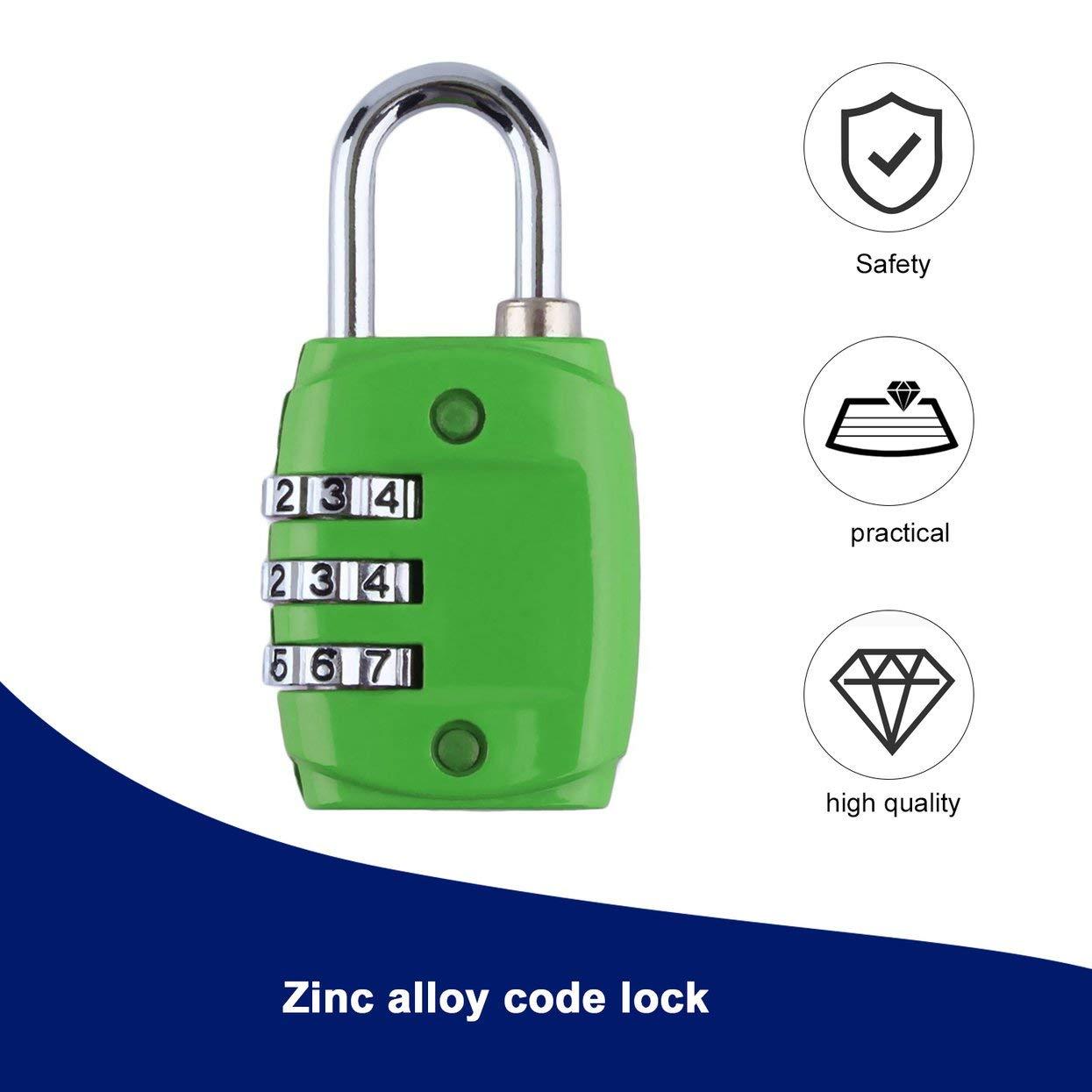 Zinc en Alliage de s/écurit/é Combinaison /à 3 Chiffres Combinaison du num/éro de Code et Cadenas /à Cadenas pour Bagage /à Fermeture /à glissi/ère Sac /à Dos Valise tiroir Vert