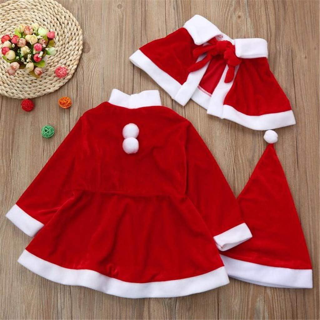 M/ädchen 3-teiliges Weihnachtskleid f/ür Babys Rundhalsausschnitt Freizeit mit Buchstaben karierter Rock und Haarband f/ür Neugeborene Weihnachtskleidung Party.