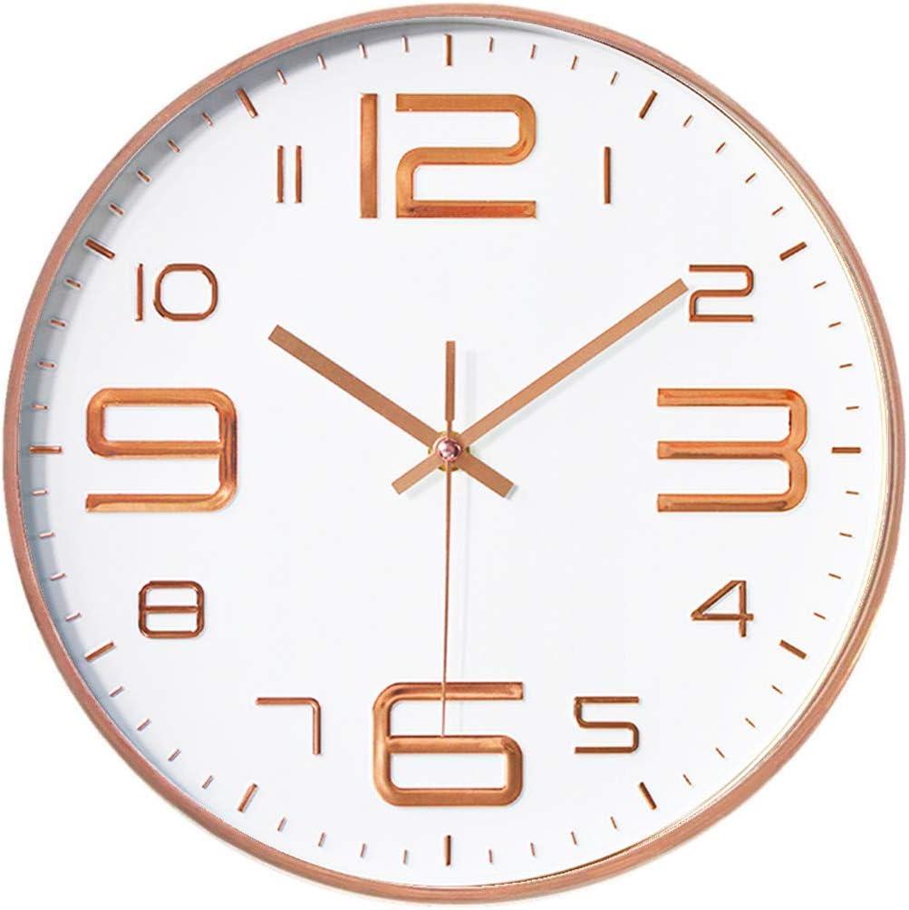 Foxtop Moderno Silencioso Grandes Decorativos Cuarzo Redondo Reloj de Pared sin Tic Tac para Cocina Dormitorio Escuela Oficina Sala de Estar, Ø: 30 cm, Número Grande, Marco de Oro Rosa