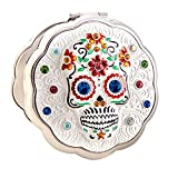 Day of The Dead Sugar Skull Silver Compact Metal Purse Mirror By Jinvun Antique Round Vintage, Halloween Makeup Gift