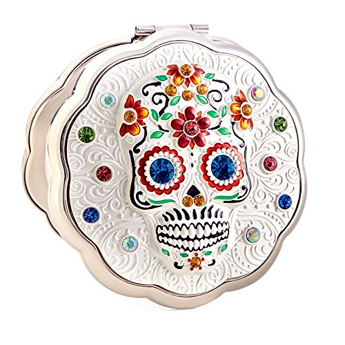 Day of The Dead Sugar Skull Silver Compact Metal Purse Mirror By Jinvun Antique Round Vintage, Halloween Makeup Gift by Jinvun