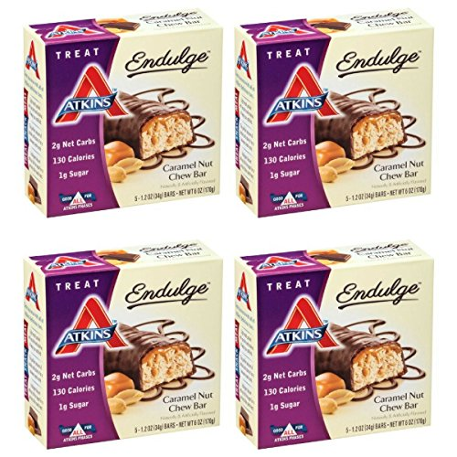 Atkins Endulge Treat, Caramel Nut Chew Bar, 1.2 Ounce, 5 Count (Pack of 4) by Atkins