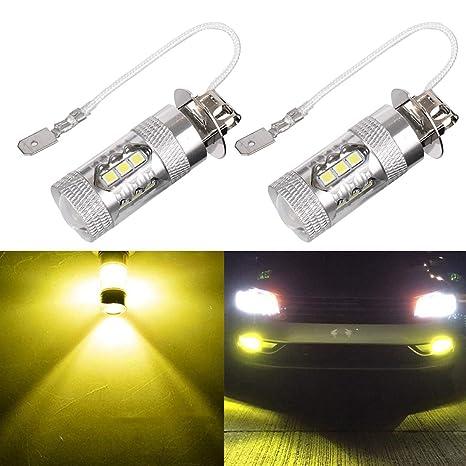 Bombillas de luz antiniebla LED, Mesllin mejorada lámpara antiniebla automotriz H3 3000K amarillo Super brillante