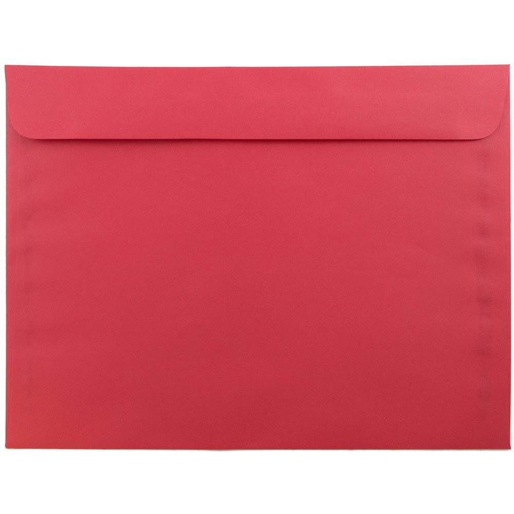 JAM Paper® 228.6 x 304.8mm (9 x 12) Booklet Envelope - Brite Hue Christmas Red - 25/pack