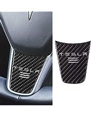 Hamkaw Tesla Model 3 Housse de Volant de Voiture en Fibre de Carbone pour Voiture, Autocollant, modèle Tesla 3 Accessoires Noir