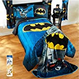 Warner Brothers Batman Guardian Speed 4-Piece TWIN Size Bed in a Bag Reversible Bedding Set with Glade Room Spray Air Freshener