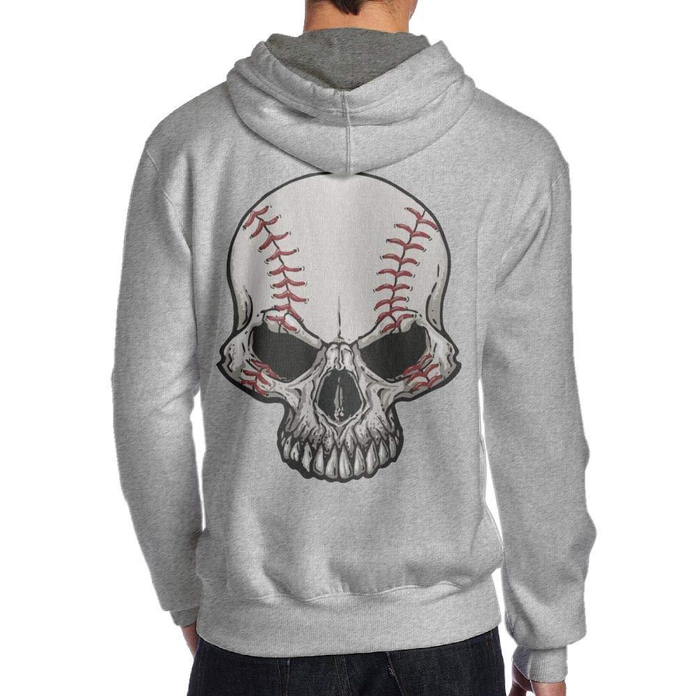 JHDKDGH-N Skeleton Baseball Back Print Long-Sleeved Hoodie Men