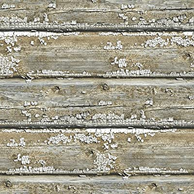 Wallpaper Faux Rustic Old Weathered Barn Wood With Chipped Paint Gray Tan Black Shiplap Smooth Not Textured