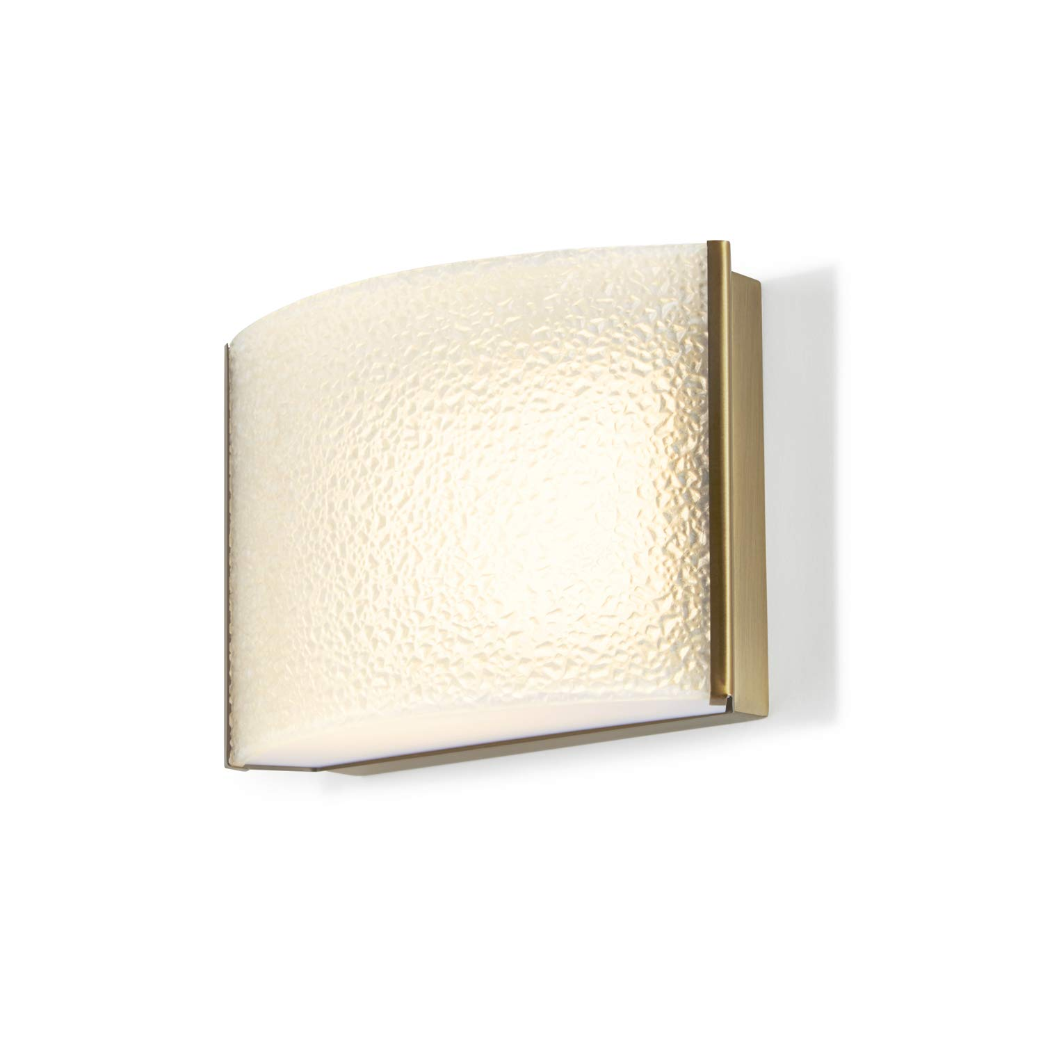 1 Light Vanity Bathroom Sconce - Brass Metal Finish Fixture, Textured Water Glass, Hardwire, Damp Located - ETL Listed