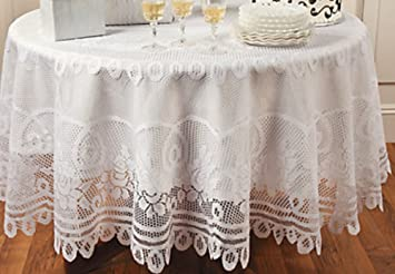 Elegant White Round Lace Tablecloth With Scalloped Edges 84 Inches Diameter    Table Linens