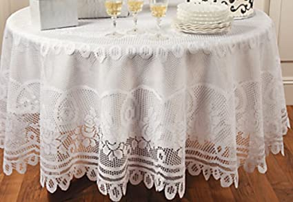 Beau Elegant White Round Lace Tablecloth With Scalloped Edges 84 Inches Diameter    Table Linens