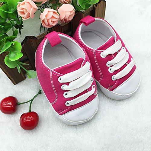 Zapatos de bebé Zapatos para bebé de cuatro estaciones Zapatos suaves para los primeros pasos Tamaño para 0-12 meses Luerme Rosa