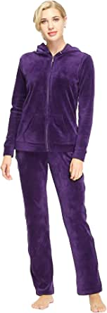 Dolcevida Women's Warm Active Solid Velour Tracksuit Zip up Hoodie and Sweat Pant Set