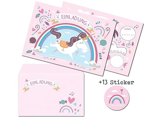 CardWheels 12 Tarjetas de invitación Unicornio al Juego de Tarjetas de cumpleaños/Invitación Unicorn Chica