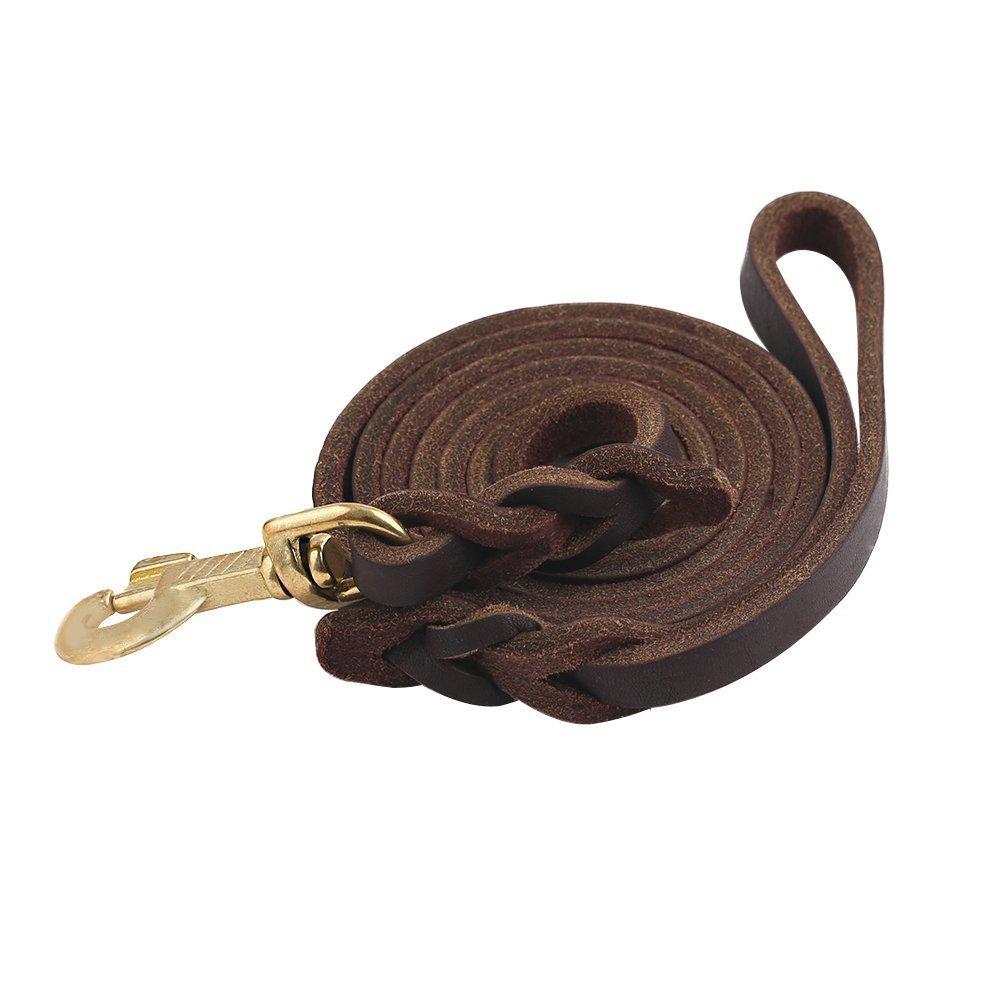 Guiding Star Brown 10ft Braided Leather Dog Training Leash with Copper Hook, Heavy Duty Dog Leash for Large, Medium and Small Dogs, Two Sizes for Your Choice