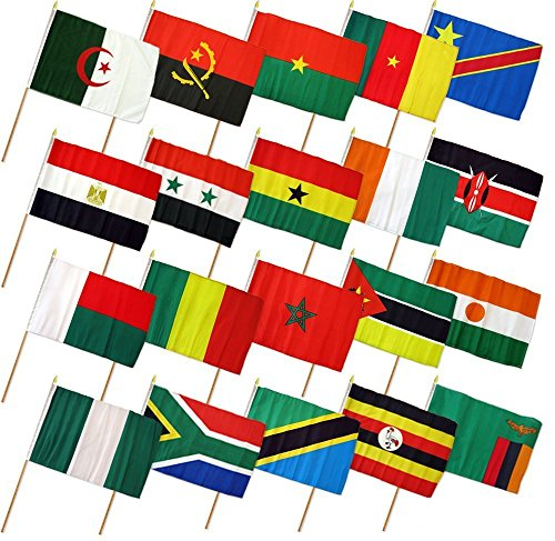 (4x6in) Set of 20 African Stick Flags For Sale