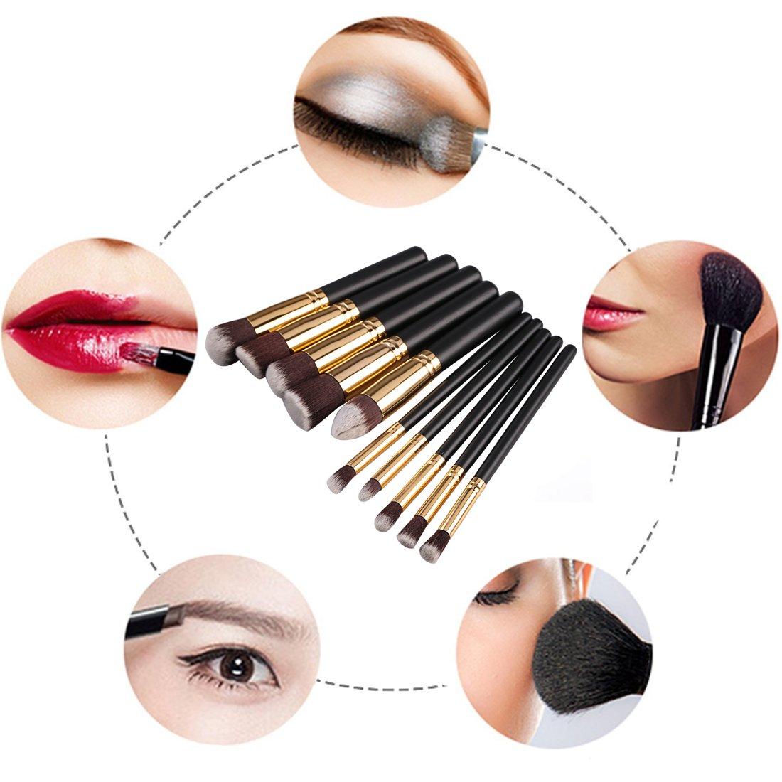Pinceaux de maquillage, 10 pièces de brosses de maquillage cosmétiques, Brosse à Blush de 10 pièces, Pinceau aux yeux, aux lèvres, aux joues,Outils cosmétiques à Pinceau de Poutre Correcteur (Poignées Noires)