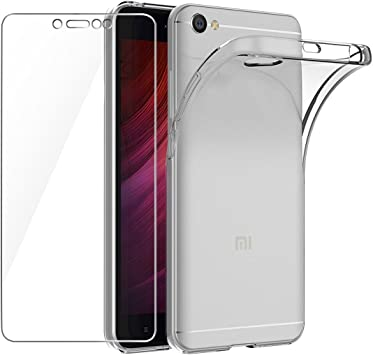 Leathlux Funda + Cristal para Xiaomi Redmi Note 5A, Transparente ...