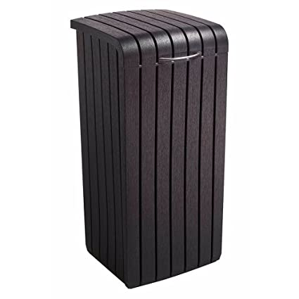 Ordinaire Outdoor Trash Can With Lid Decorative Patio Long Lasting Polypropylene  Resin Garbage Basket Kitchen Garage