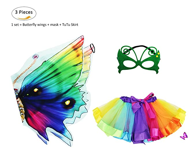 Amazon.com: Kids Rainbow Fairy Butterfly Wings Costume with Mask ...