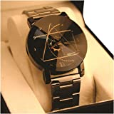 Bonjour Analogue Multicolour Dial Metal Black Strap Diamond Cut Glass Women's Watch