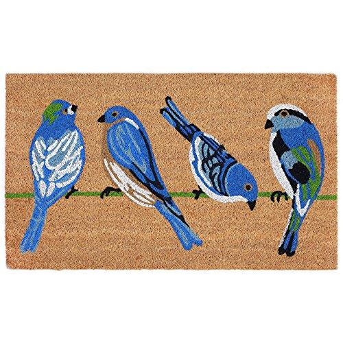 (Trans Ocean Coconut Area Rugs Liora Manne Natura Blue Birds Indoor/Outdoor Mat Natural 18