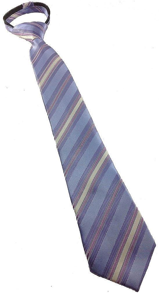 Boys Multi Purple and Ivory Stripe Zipper Tie