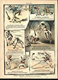 Comical Juvenile Fiction Racism Violence c.1884 antique color lithograph print