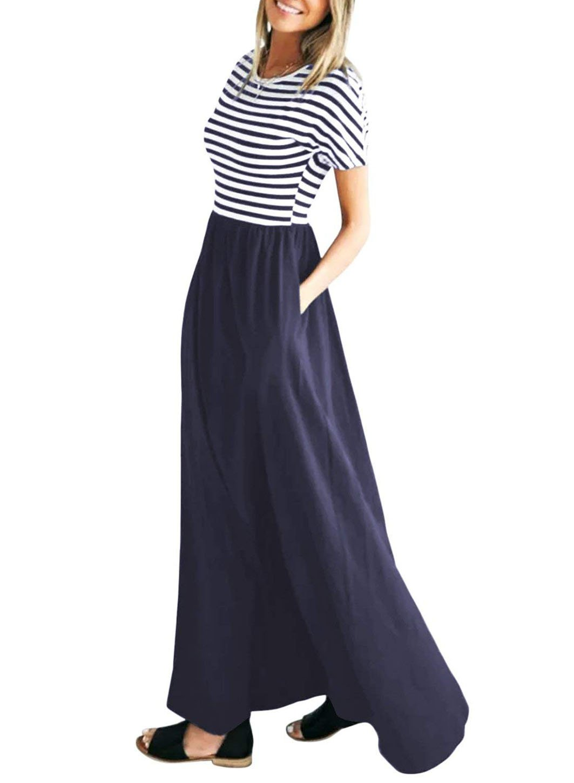 STKAT Women's Summer Short Sleeve Striped Pockets High Waist Long Maxi Dress