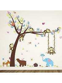 ElecMotive Cartoon Forest Animal Monkey Owls Hedgehog Tree Swing Nursery Wall  Stickers Wall Murals DIY Posters