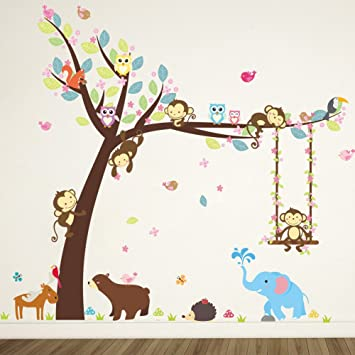 ElecMotive Cartoon Forest Animal Monkey Owls Hedgehog Tree Swing Nursery Wall Stickers Wall Murals DIY Posters  sc 1 st  Amazon.com : forest animals nursery wall decals - www.pureclipart.com