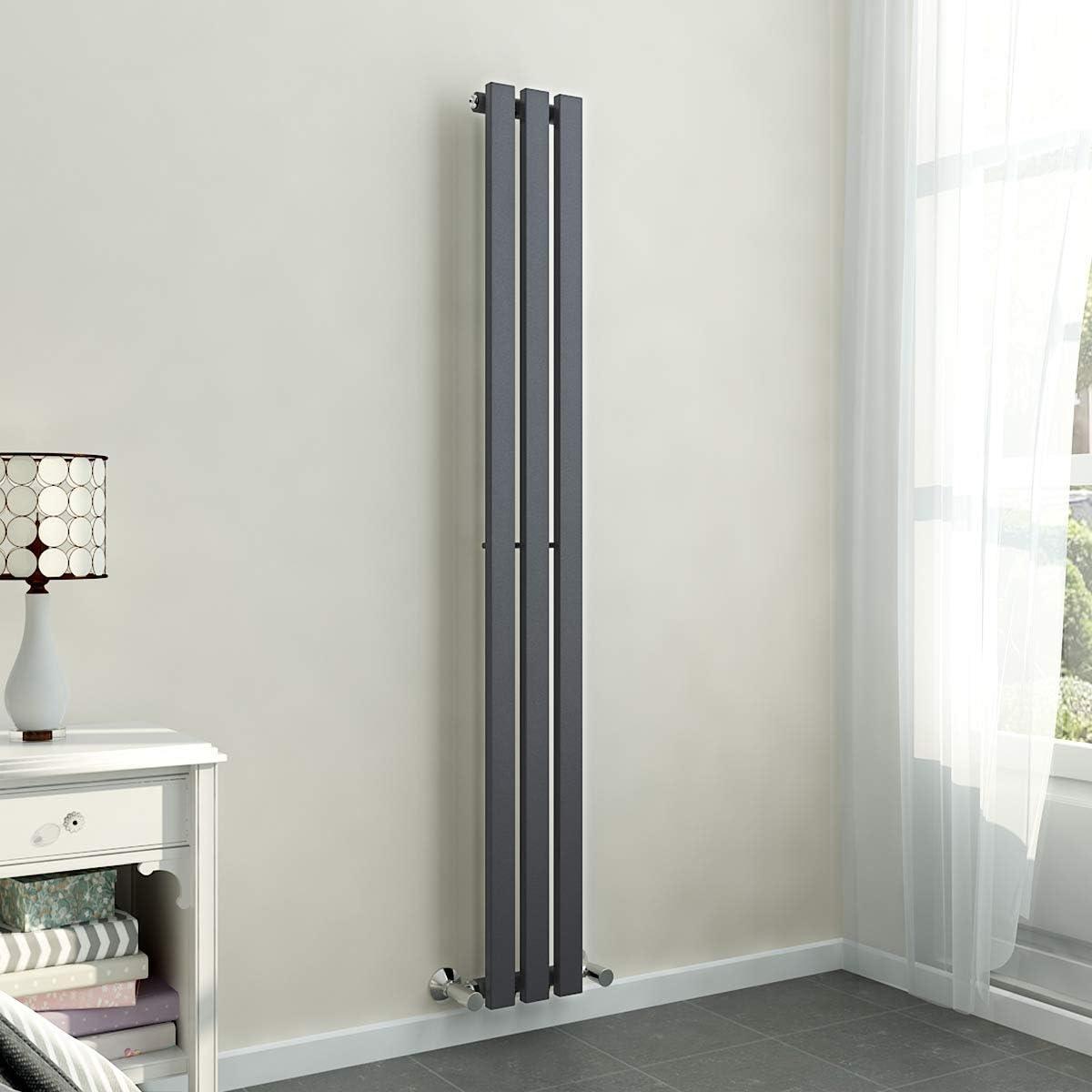 Kitchen Modern Central Heating Living Room Perfect for Bathroom Warmehaus 1800 x 410 mm Grey Anthracite Vertical Designer Radiator Single Rectangular Flat Panel