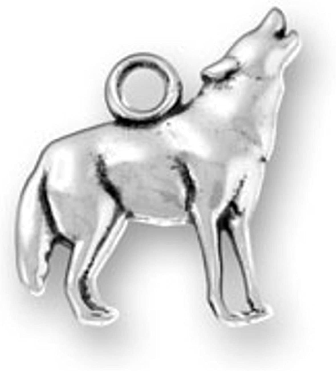 Sterling Silver Womens 1mm Box Chain Wolf Howling At The Moon Pendant Necklace