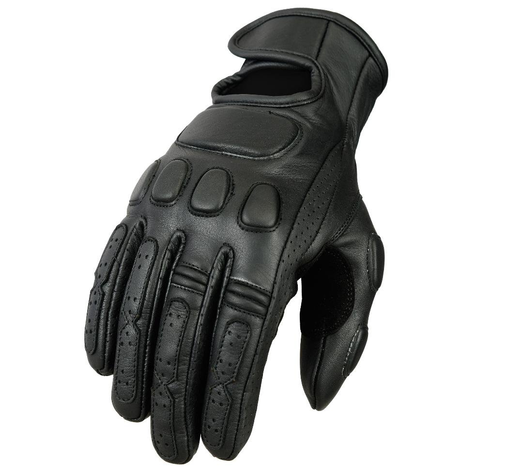 Black Bikers Gear Australia Premium Soft Fit Leather Classic Roadster Motorcycle Gloves Size XS