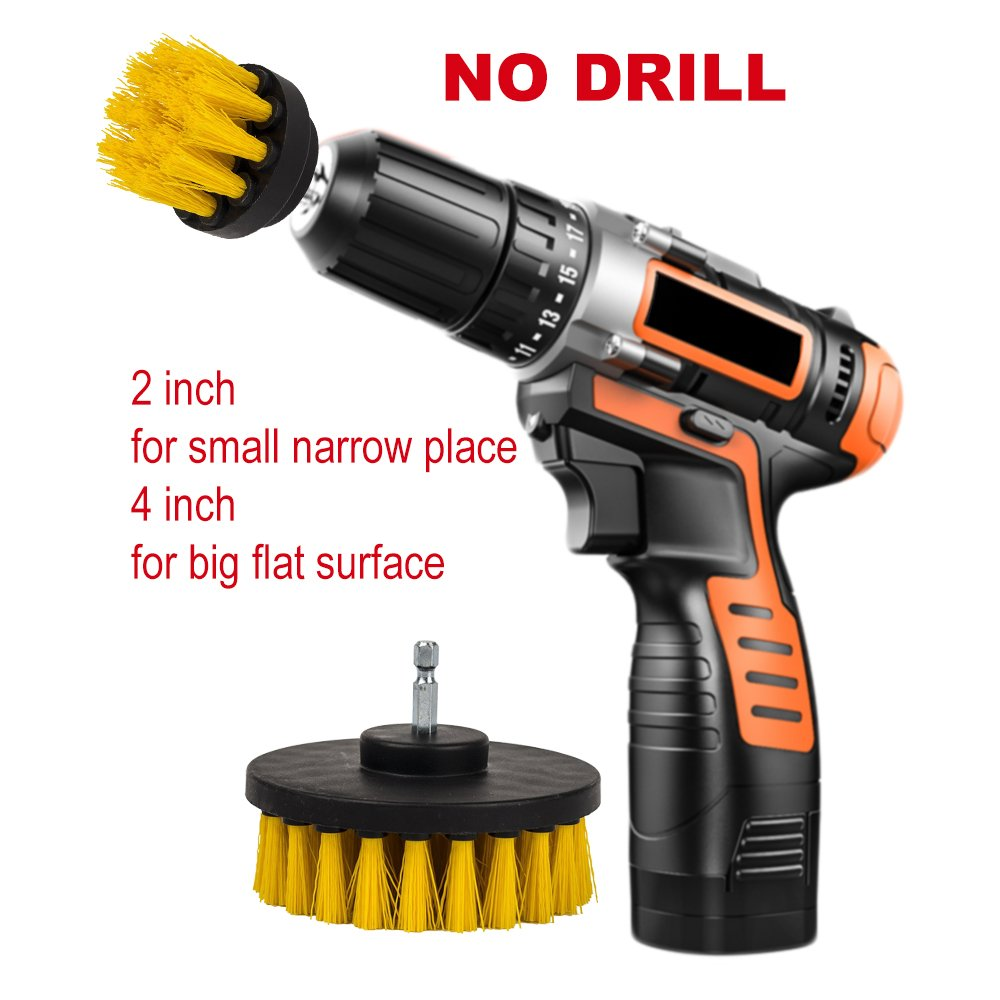 2Pcs 2'' 4'' Drill Brush,Eagles Medium Stiff Bristle Scrub Cleaning Brush Drill Attachment for Floor,Shower,brick,tile and grout