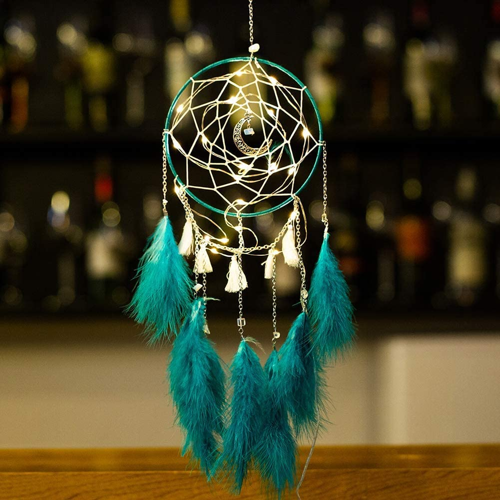 Nice Dream LED Dream Catcher, Handmade Dream Catchers for Bedroom Wall Hanging Home Decor Ornaments Craft (Dark Green)