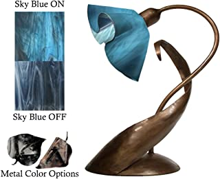 product image for Jezebel Radiance Lazy Daisy Lamp. Hardware: Brown with Brown Highlights. Glass: Sky Blue, Lily Style