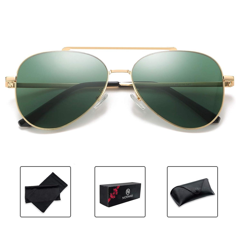Green NOVMAS Classic Aviator Sunglasses for Men Women 100% UV Predection Tinted Lens Metal Frame Military Style