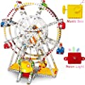 Ferris Wheel Building Kit with Lights & Music Box, DIY Sky Wheel Model Set Metal Beams and Screws