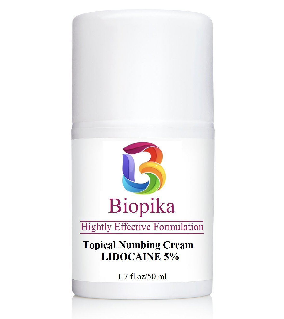 BIOPIKA, Topical Numbing 5% (LIDOCAINE) Local Anesthetic Provides Pain Relief and Prevention - Airless Pump, 1.7 Oz
